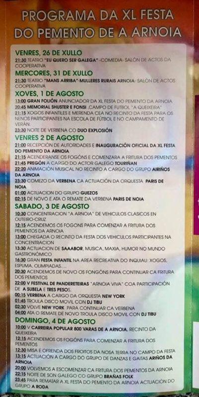 Programa Festa do pemento de Arnoia