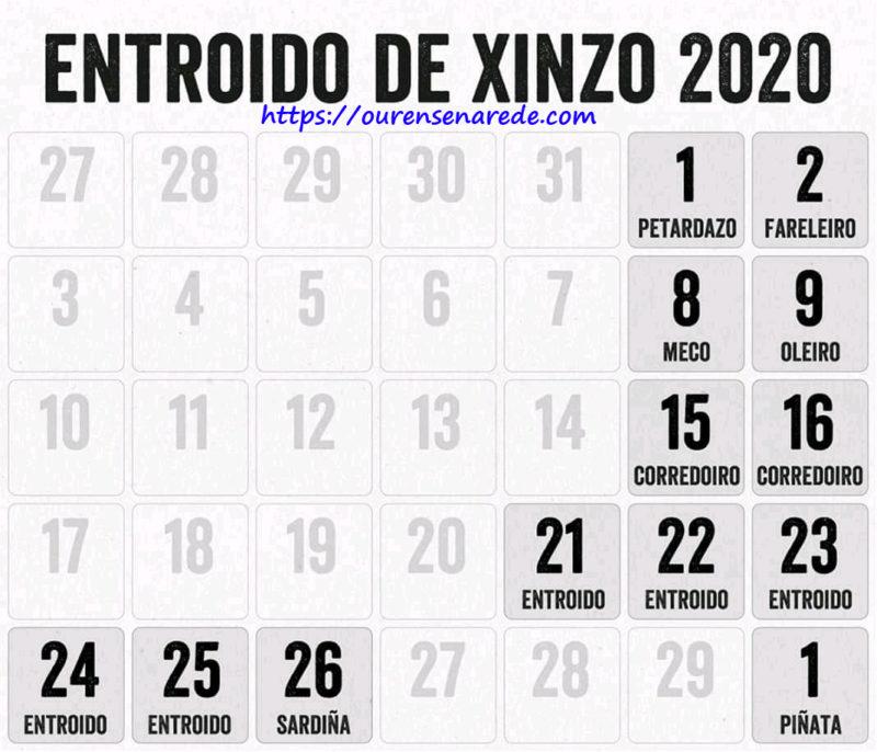Datas do Entroido de Xinzo de Limia 2020