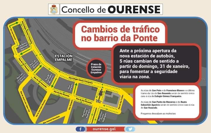 Cinco calles de Ourense cambian de sentido